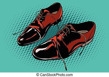 Leather brown men shoes. Pop art retro comic book vector...