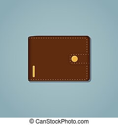 Leather brown wallet with gold snap and stroke on a blue...