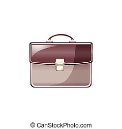 leather business bag . Vector Illustration Isolated on White Background