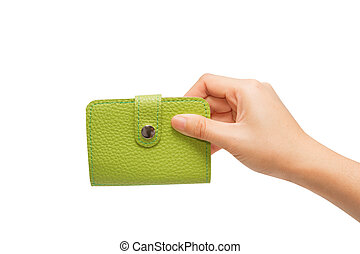 leather business card holder in the hand isolated on white background with clipping path