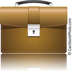 Leather case portfolio over white