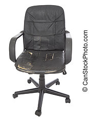 leather chair - black damage leather chair on white...