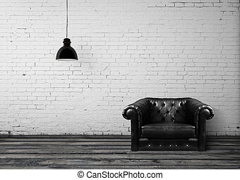 leather chair - brick room with leather chair