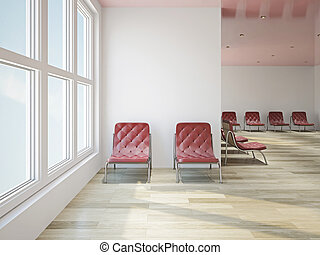 Leather chairs in a lobby - Leather red chairs in a big...