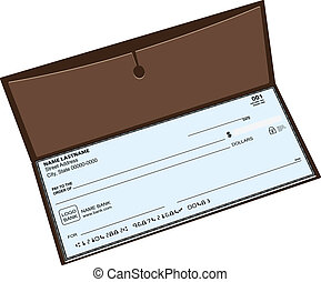 Leather checkbook with a pocket for storing copies of checks. Vector illustration.