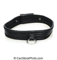 Leather Collar - Leather collar with a metal ring - typical...