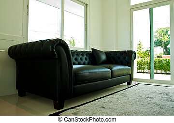 Leather couch on corner