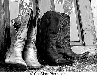 Leather Cowboy Boots - A pair of leather cowboy boots ...