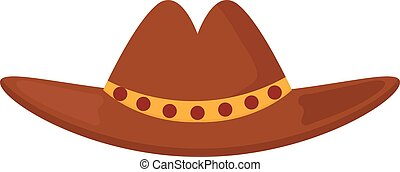 Leather cowboy sheriff's leather hat stetson western traditional clothing vector illustration.