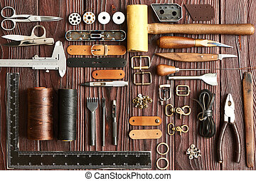 Leather crafting tools - Leather crafting DIY tools flat lay...