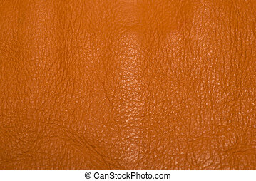 Leather details - Orange leather showing surface details and...