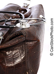 Leather doctors bag and stethoscope