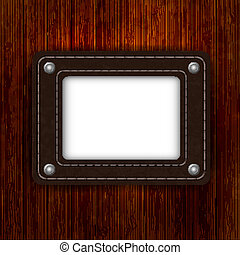 leather element on wooden boards with place for your text. Vector illustration