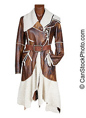 Leather female coat with fur on a white background