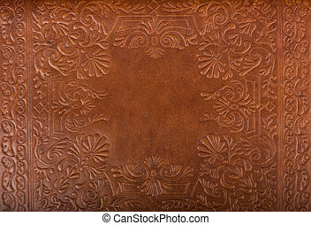 Leather floral pattern background close up