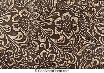 Leather floral pattern - Embossed leather floral pattern...