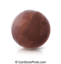 Leather globe 3D illustration North and South America map