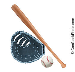 Leather glove with baseball and bat isolated