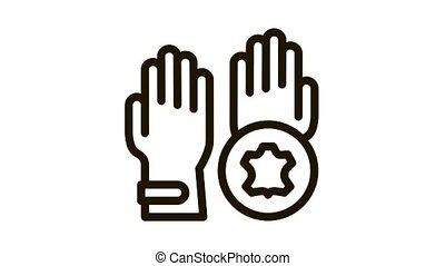 leather gloves Icon Animation. black leather gloves animated icon on white background
