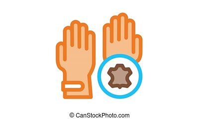 leather gloves Icon Animation. color leather gloves animated icon on white background