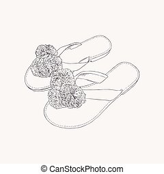 leather greek sandals with pom pom - summer accessories hand draw sketch vector.
