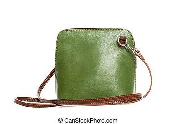 Leather green handbag isolated on white background