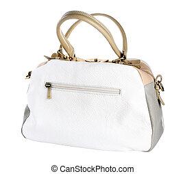 Leather handbag isolated on white background