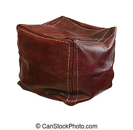 Retro leather hassock isolated with clipping path included