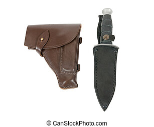 Leather holster and knife in scabbard isolated on white...