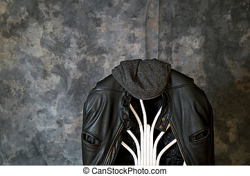 leather jacket and cap