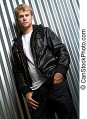 Leather Jacket Man - Young man wearing leather jacket
