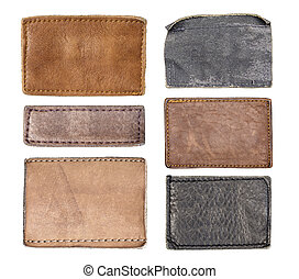 Leather jeans labels, leather tags.