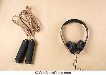 Leather jumping rope with headphones