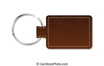 Leather Key Fob - A brown leather key fob and ring over a ...