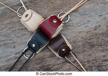 Leather key ring, miniature bag