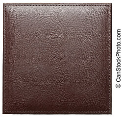 Leather label - Blank leather background with stitches,...
