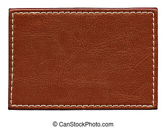 Leather label - Blank leather background with stitches, ...