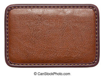 Leather label - Blank leather label with stitches, isolated.