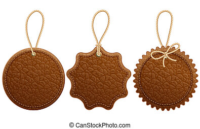 Leather label - Set of brown leather label. Isolated on ...