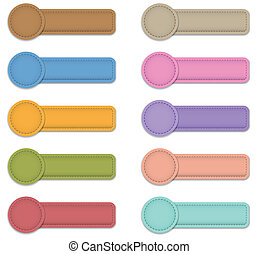 Blank colorful labels made of leather. Web button set. Vector illustration