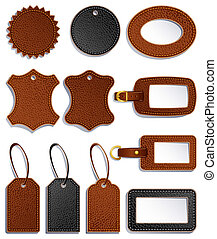 leather labels - set of leather luggage labels and tag