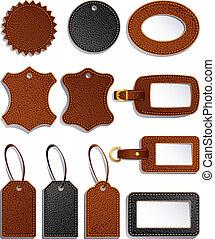 leather labels - Vector illustration - set of leather ...