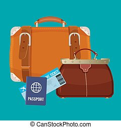 Leather luggage case, carryon bag near travelling tickets and passports
