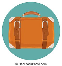 Leather luggage case in round blue button isolated on blue