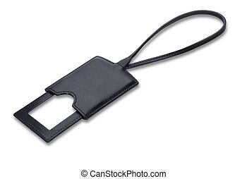 a quality leather luggage tag label isolated on white with clipping path