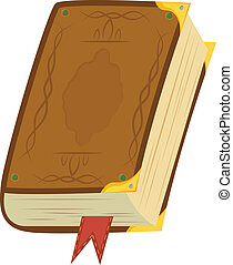 Leather Magic Book - Yellow magic book with bookmark and...