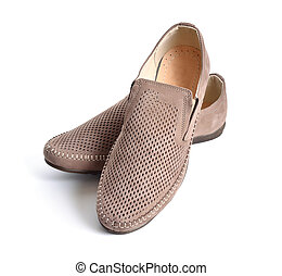 Leather men's shoes with perforation isolated.