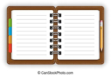 Leather notepad - Leather opened notepad with pencil vector