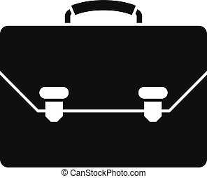 Leather office suitcase icon, simple style