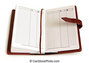 Leather personal organizer on a white background
